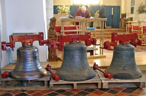 Bells ready for hanging at St Nicholas Otham, Kent UK
